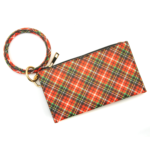 Red Tartan Plaid Round Key Ring With Zip Purse