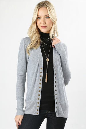 Snap Button Cardigan Color Heather Grey