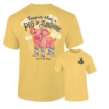 Southernology - Happier Than A Pig In Sunshine Tee Shirt (Lead Time 2 Weeks)