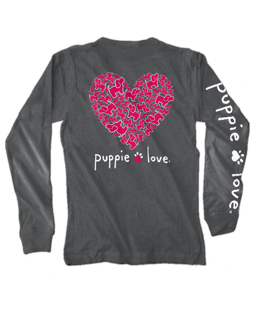 Puppie Heart Pup Long Sleeve Tee By Puppie Love (Pre-Order 2-3 Weeks)