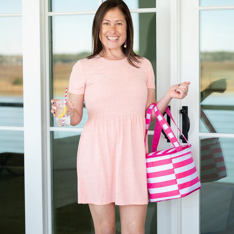 Hot Pink Stripe Cooler Tote (Lead Time 2 Weeks)