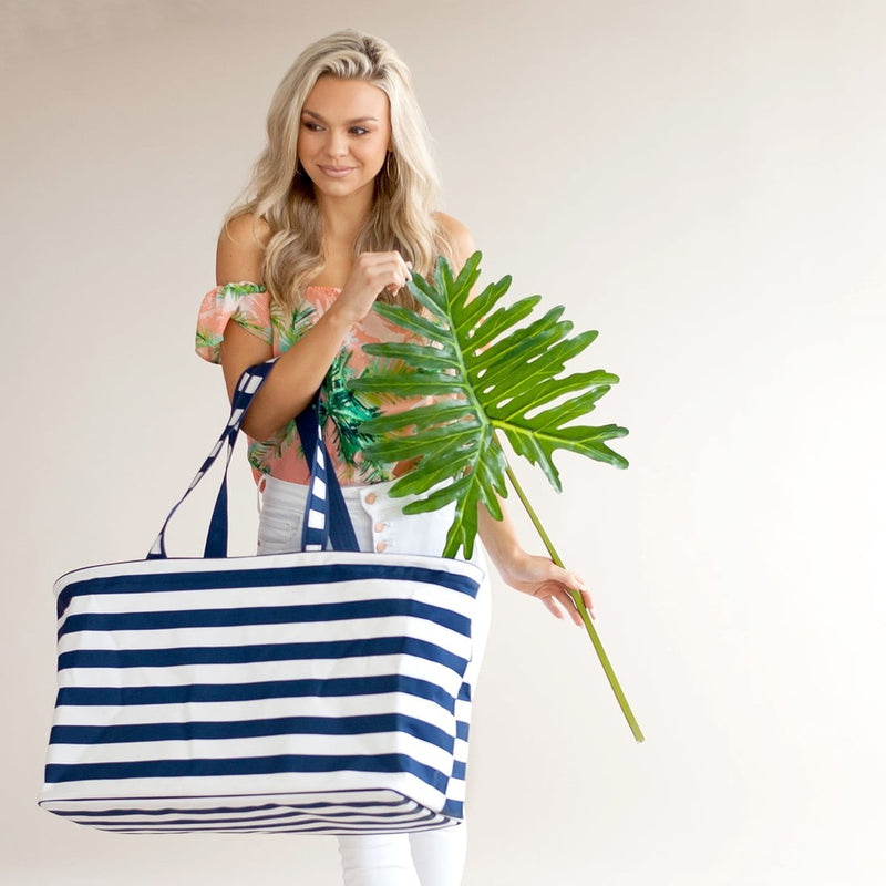 Navy Stripe Zip Ultimate Tote (Lead Time 2 Weeks)