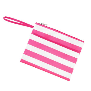 Hot Pink Stripe Zip Pouch Wristlet (Lead Time 2 Weeks)