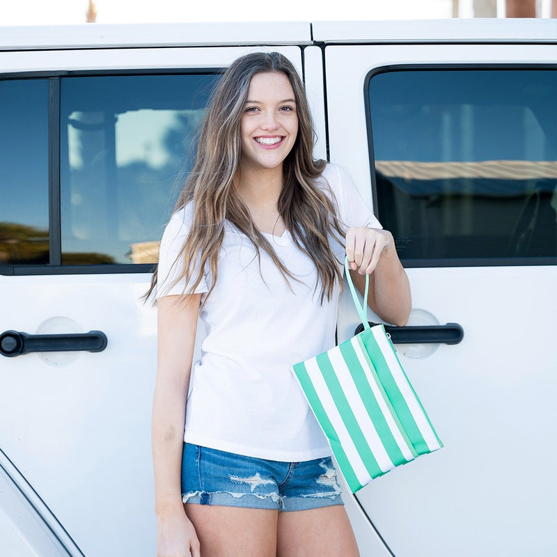Mint Stripe Zip Pouch Wristlet (Lead Time 2 Weeks)