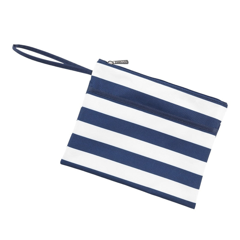 Navy Stripe Zip Pouch Wristlet (Lead Time 2 Weeks)