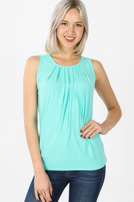 Mint Pleat Sleeveless Top