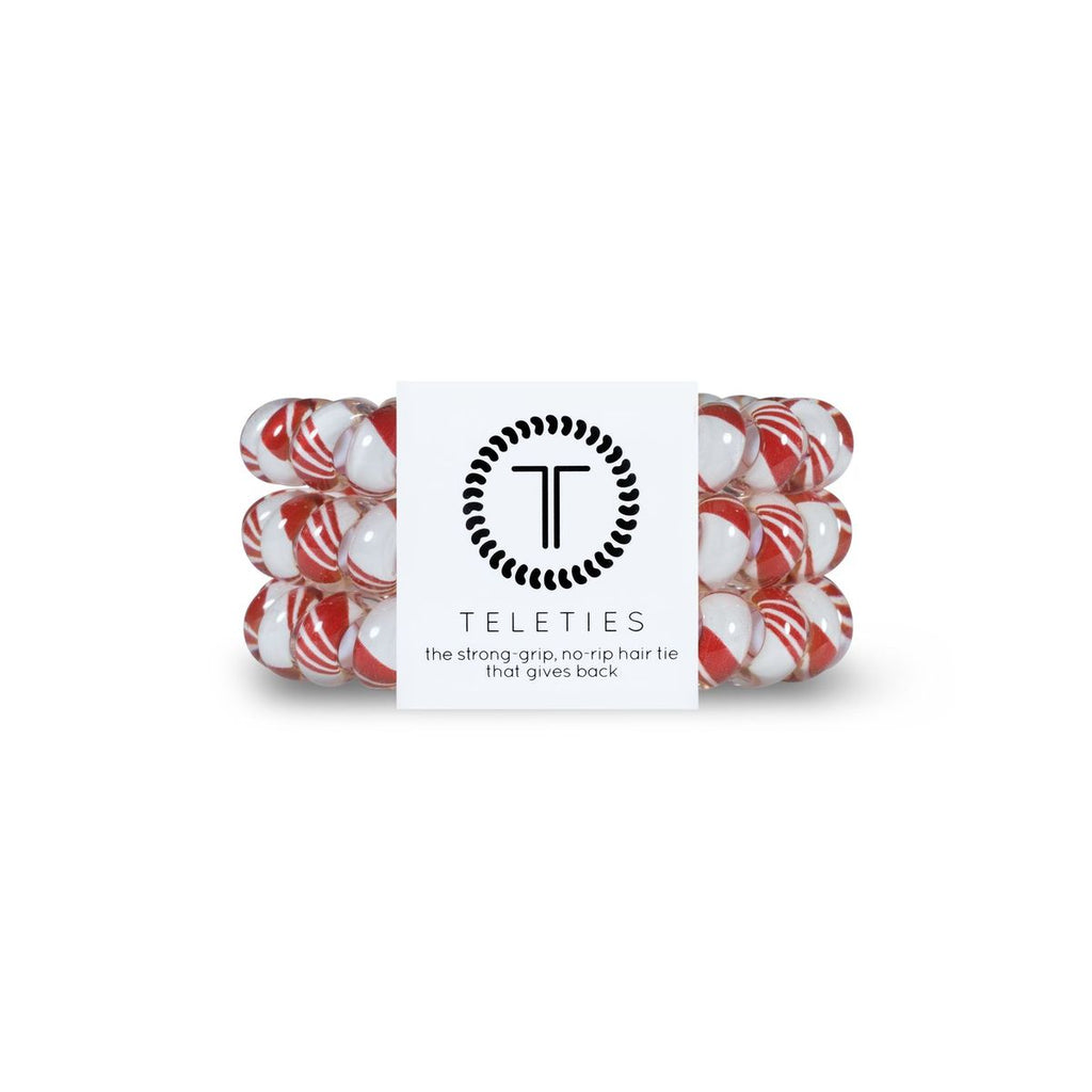 Teleties Candy Cane- Large Hair Tie Pack Of 3