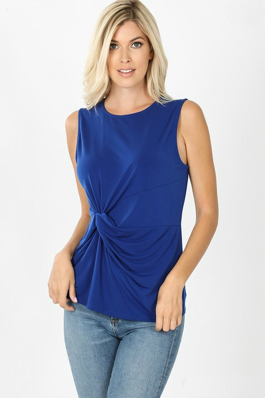 Sapphire Navy Twist Front Sleeveless Top