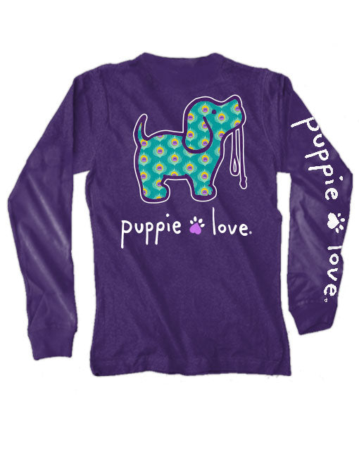 Peacock Pup Long Sleeve Tee By Puppie Love (Pre-Order 2-3 Weeks)