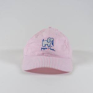 Pink  Seersucker Hat By Puppie Love ( Pre-Order 2 Weeks)