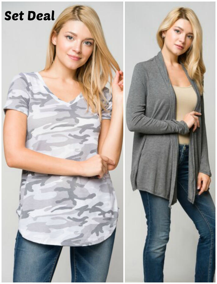 ( Set Deal ) Grey Cardigan & Camo Top
