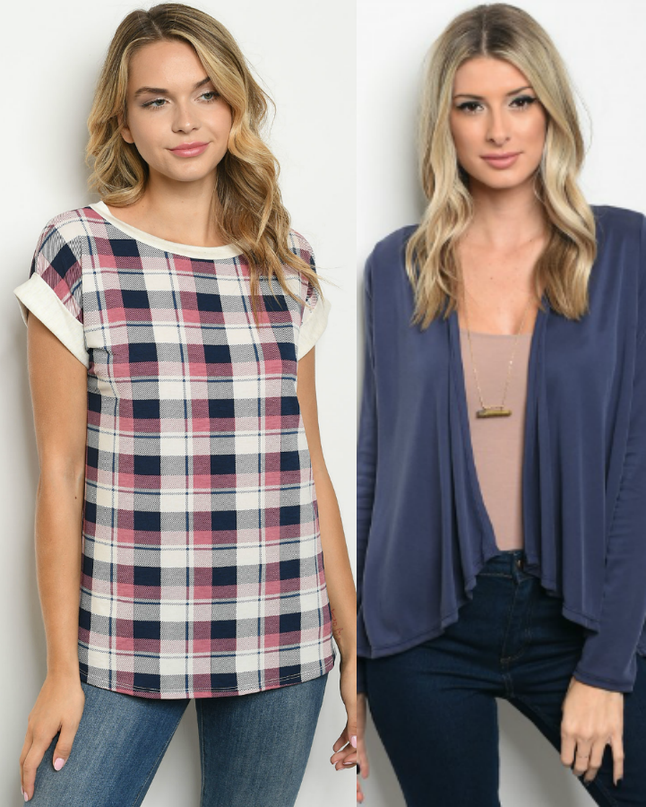 (Set Deal) Navy Cardigan & Plaid Top