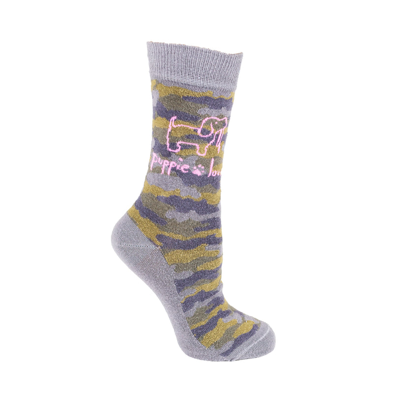 PUPPIE LOVE - ADULT CREW SOCK, CAMO PUP (Pre-Order 2 Weeks)