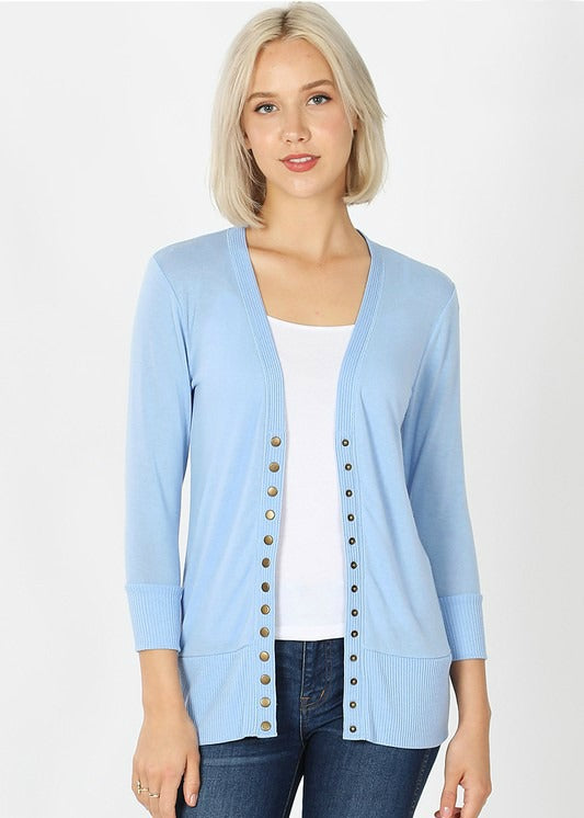 Spring Blue 3/4 Sleeve Snap Cardigan