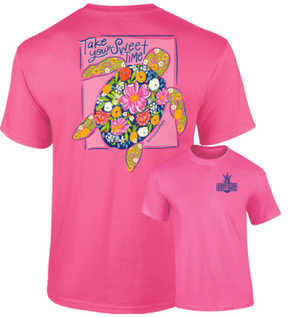 Southernology - Sweet Time Turtle Pink Tee Shirt (Lead Time 2 Weeks)