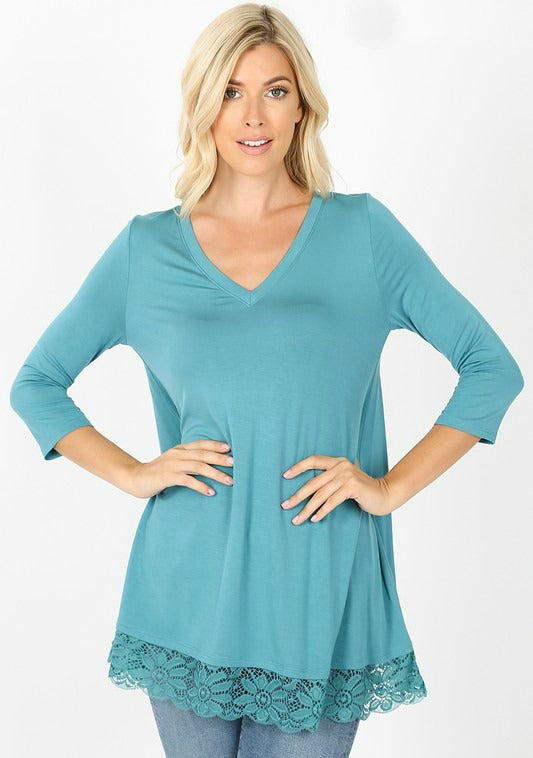 Teal Blue Lace Trim Tunic Top
