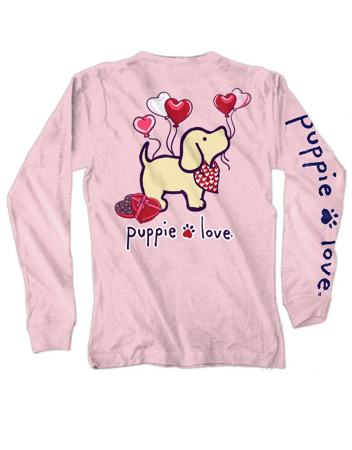 Heart Balloons Pup Long Sleeve Tee By Puppie Love (Pre-Order 2-3 Weeks)