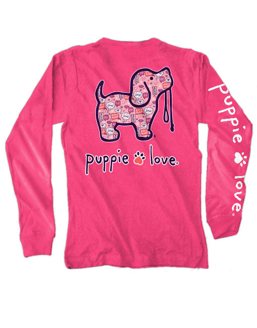 Valentine's Convo Pup Long Sleeve Tee By Puppie Love (Pre-Order 2-3 Weeks)