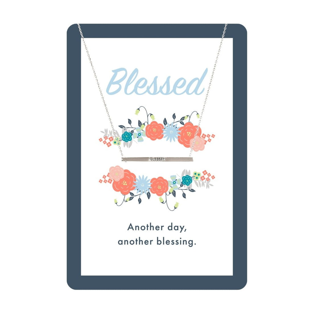 Silver Blessed Bar Necklace Card