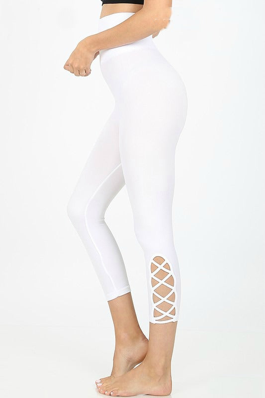 White Lattice Capri Leggings