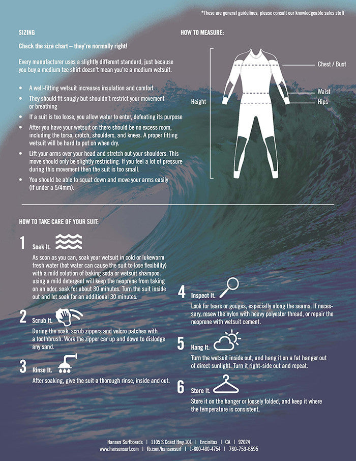 Wetsuit fitting guide page 2