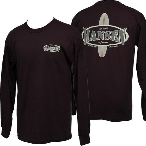 Hansens Mens Long Sleeve Shirt Surfboard Logo Navy