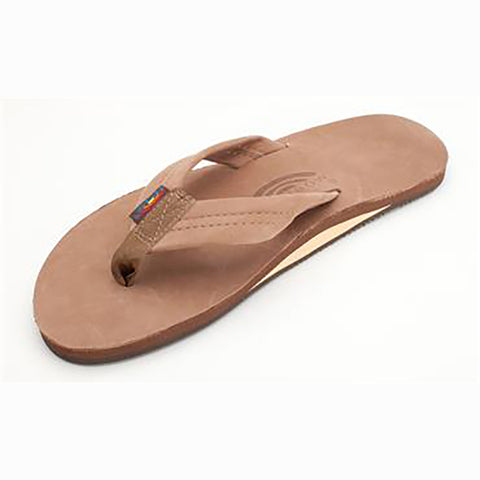 Rainbow Womens Sandals Single Layer Premium Leather Dark Brown