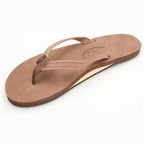 Rainbow Womens Sandals Single Layer Narrow Premium Leather Dark Brown