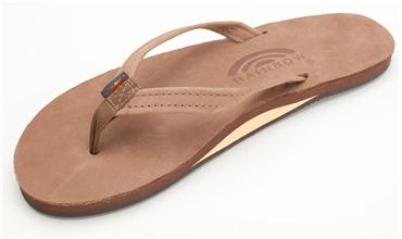 Rainbow Womens Sandals Single Layer Narrow Premium Leather