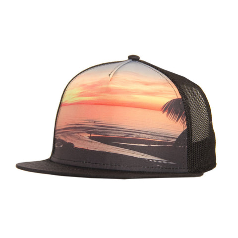 Hansen Hat Cardiff Reef Sunset Canvas Trucker