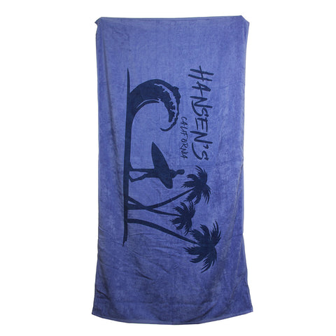 Hansen Beach Towel Surfer Wave and Palm Trees
