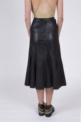 Girl Meets Edge Vintage Flutter Hem Leather Midi Skirt: Size 6