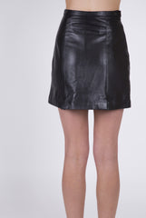 Vintage Mod Leather Mini Skirt: Size Small