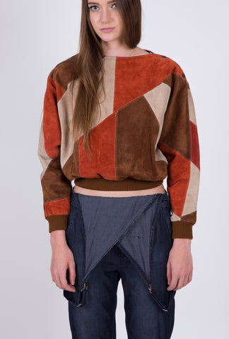 Fall Inspo Suede Patch Vintage Sweater: Size Medium