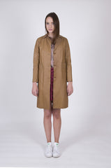 Uptown Hippie Caramel Leather Coat: Size Small