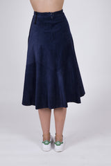 A Line Blue Suede Midi Skirt: Size 6