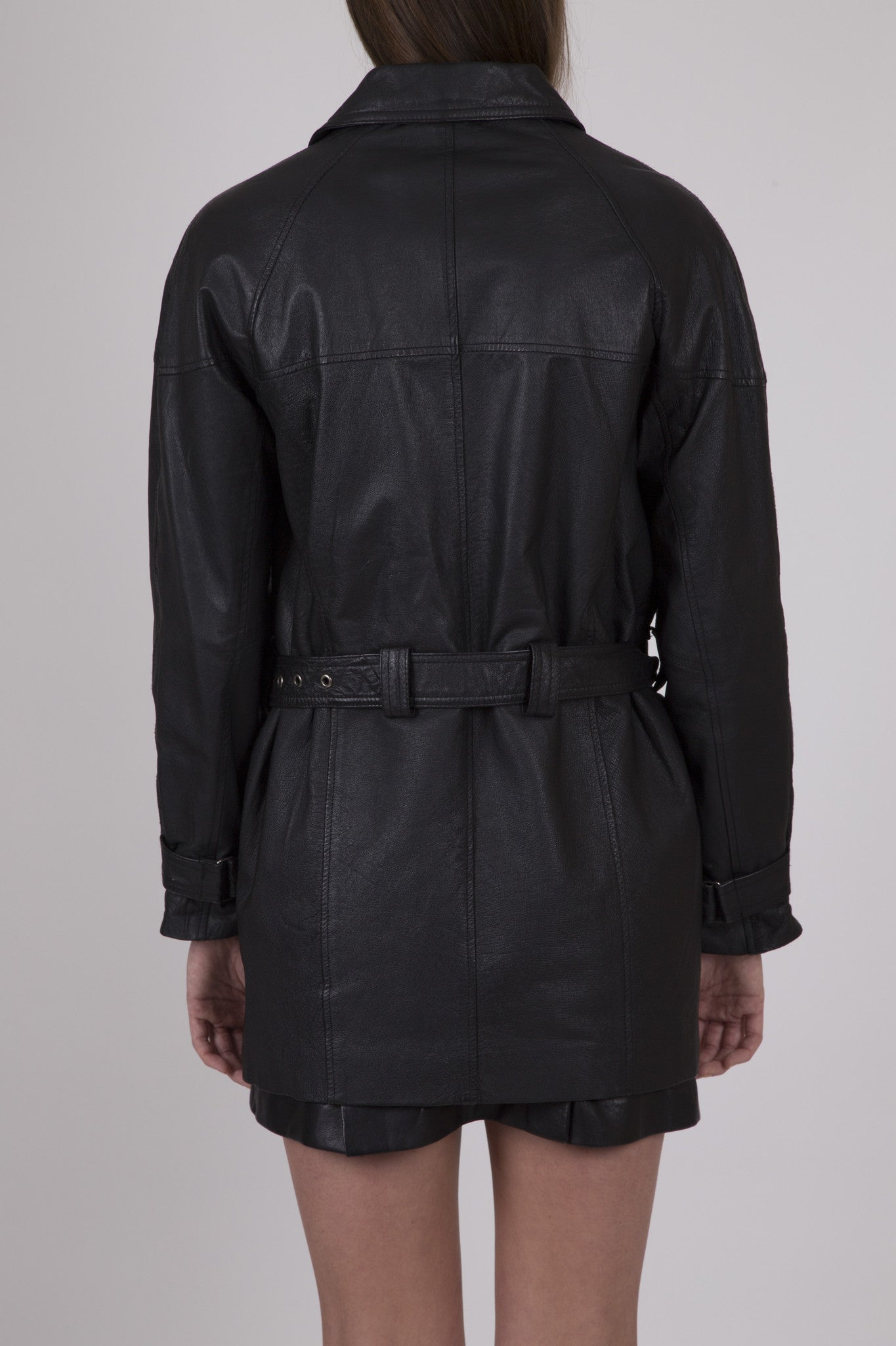 Zip Front Leather Moto Boyfriend Trench: Size M/L