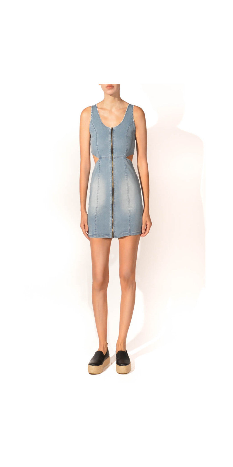 cut out denim dress