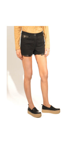 T by Alexander Wang Leather and Denim Shorts, Unworn: Size 27
