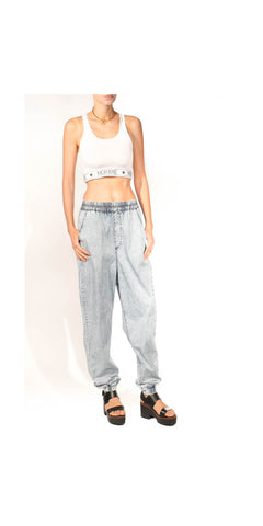 Beats in the Streets Acid Wash Chambray Harem Jogger Pant: Size Large