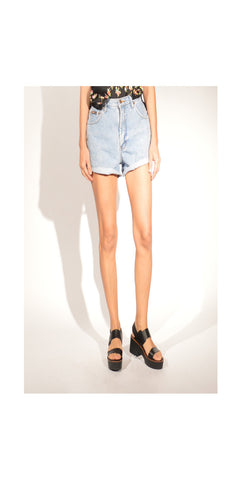 High Waisted Mom Jean Cut Offs: Size 6