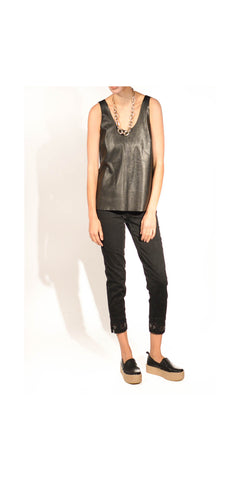 Rocker Chic Leather Tank Top with Boxy Shape: Size Large