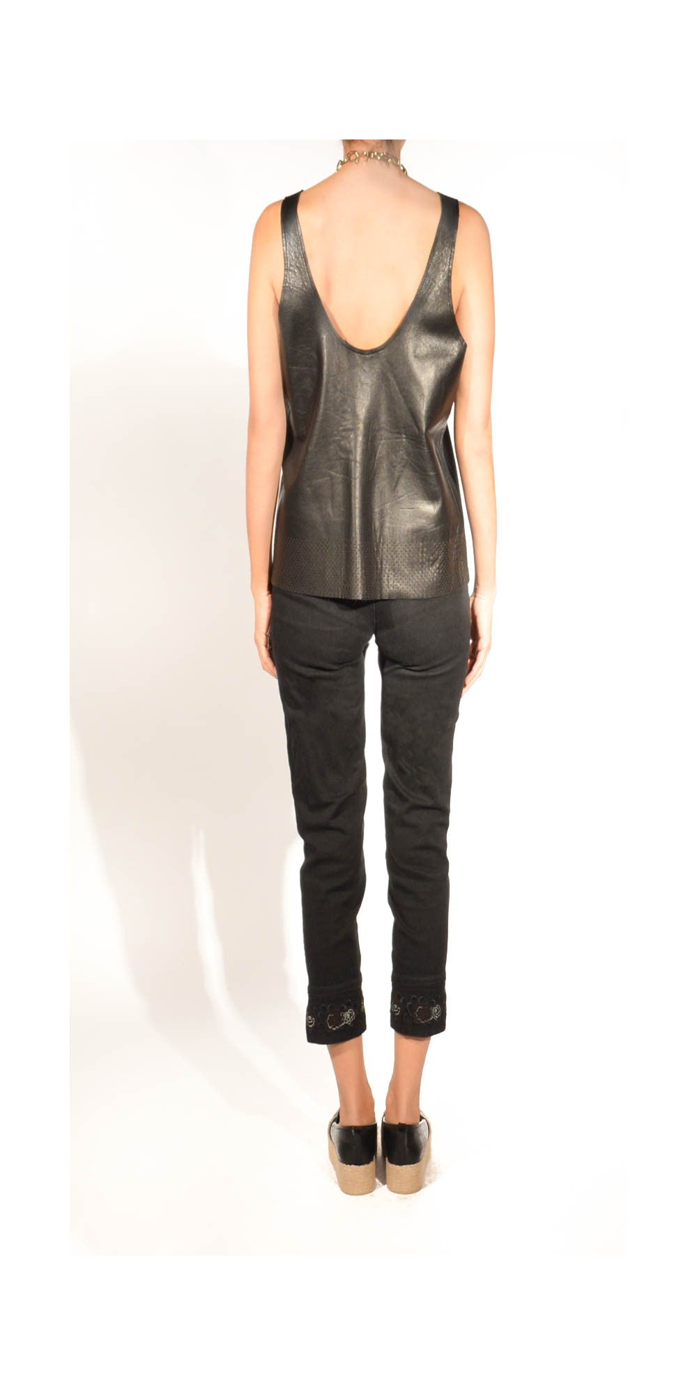 boxy leather tank top