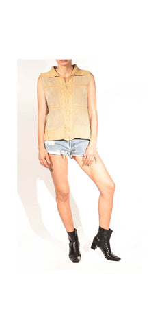 Hendrix Love Patchy Suede and Knit Vintage Vest: Size Large