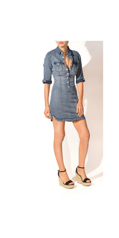 Come and Knock on My Door Stretchy Snap Front Denim Shirtdress : Size 6