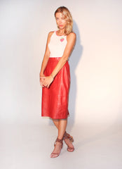 red vintage leather skirt