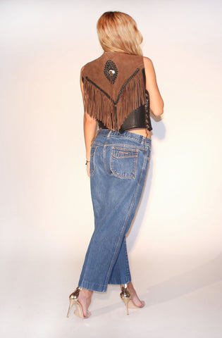 City Gypsy Vintage Fringe Vest : One Size