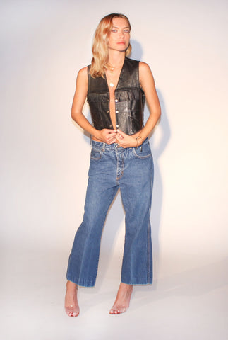 I'm With the Band 60s Vintage Fringed Crop Leather Vest : One Size