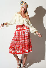 pleated folk skirt