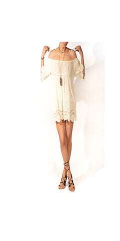 SOLD OUT - Festival Nymphe Embroidery and Eyelet Festival Goddess Dress : Size Small